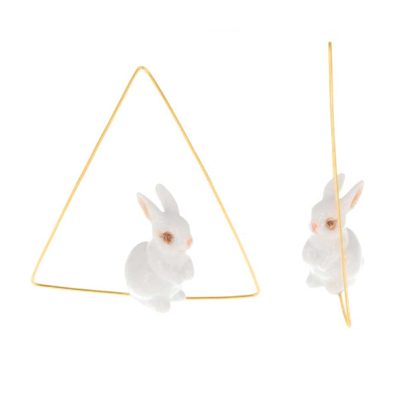 White Rabbit triangle Hoops earrings