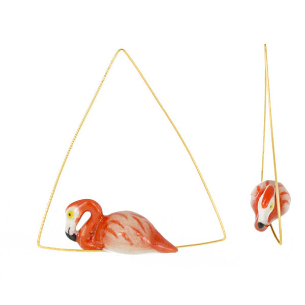 Flamingo triangle hoops earrings
