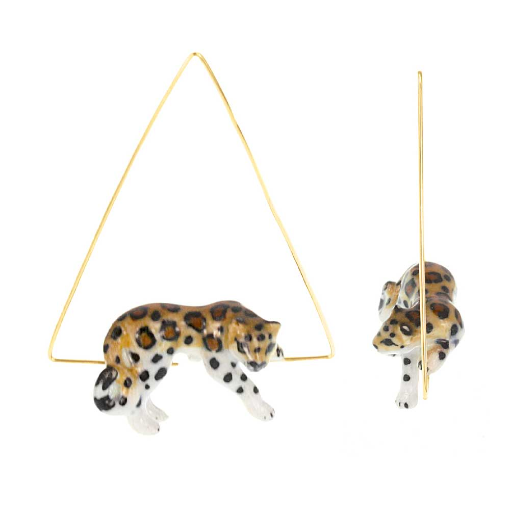 Triangle Hoops Lying Leopard Earrings