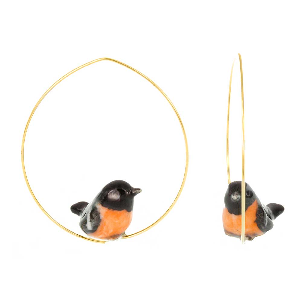 Bullfinch Pink Bird hoop earrings
