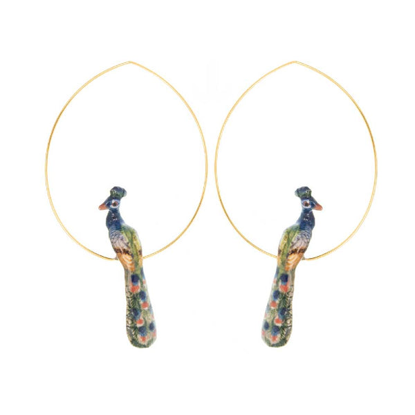 Peacock Hoops earrings