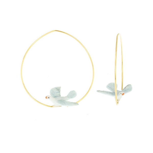 Dove Bird Hoops earrings