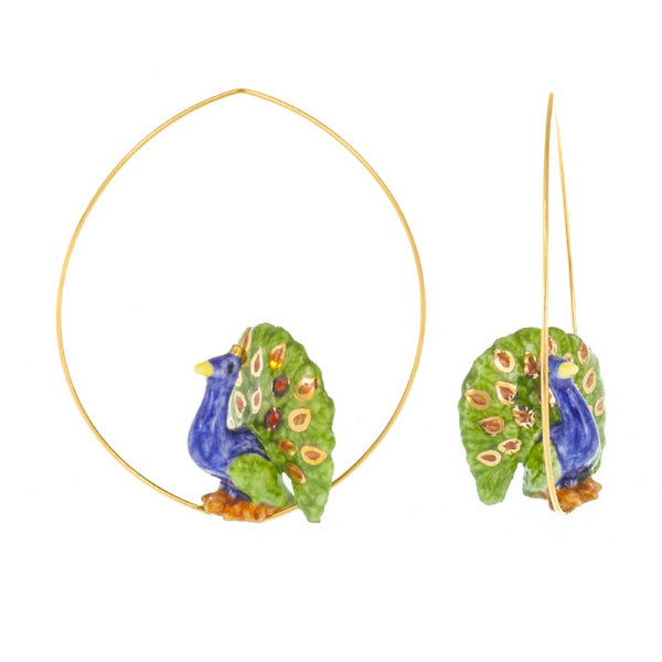 Flying Peacock Hoops earrings