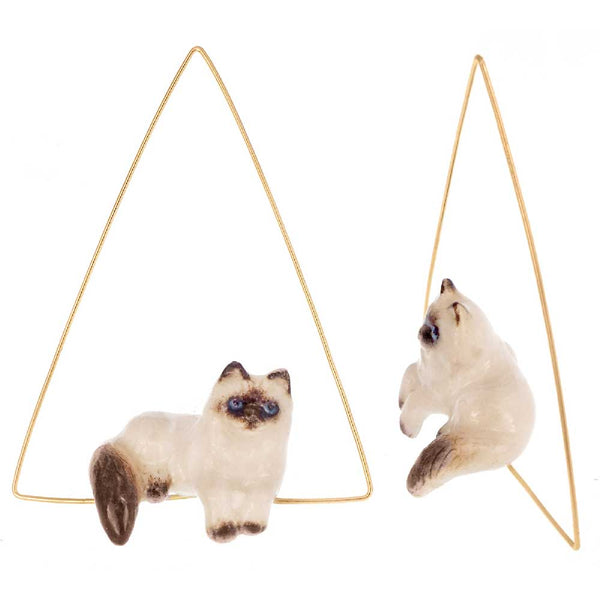 Lying Siamese Cat triangle hoops earrings