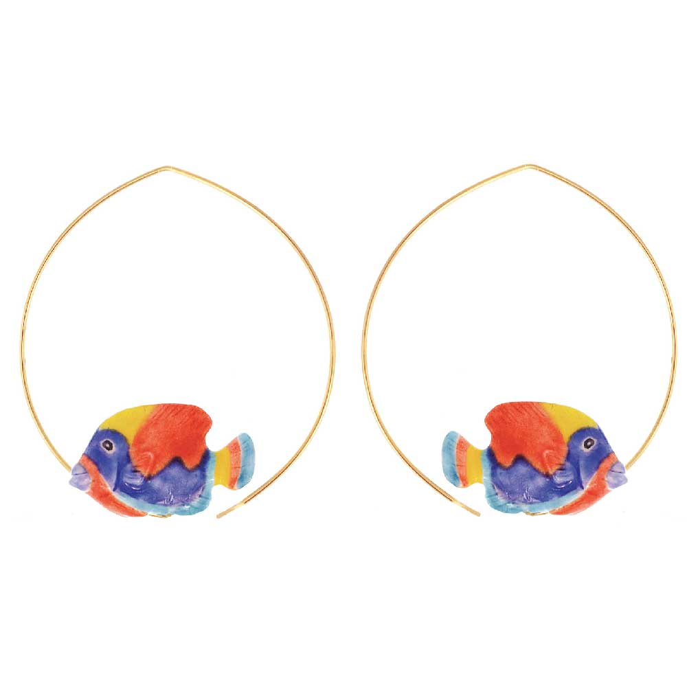 Rainbow Box Fish Hoops earrings