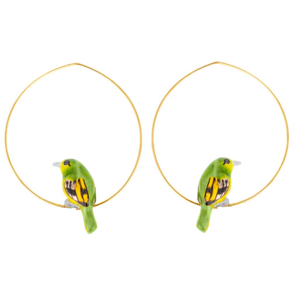 Green Bird Hoops earrings