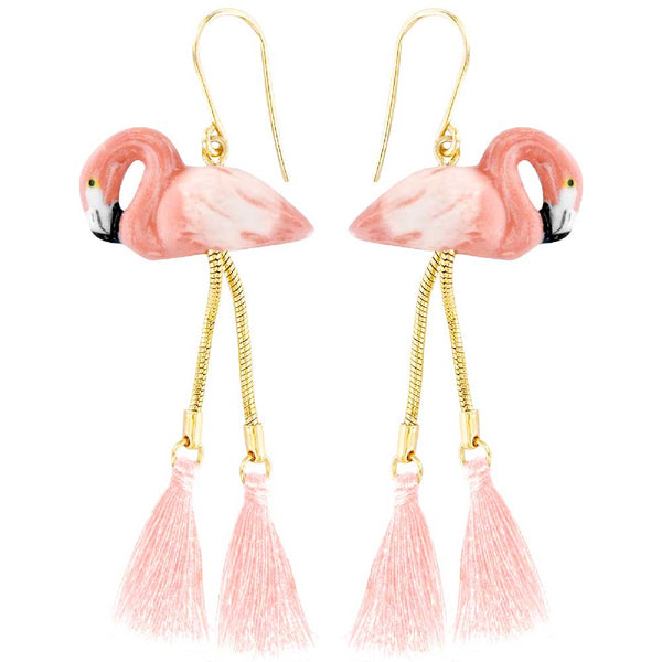 Flamingo with pompon earrings