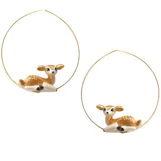 Sitting Doe Hoops earrings