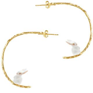 Mini White Rabbit Branch Hoops earrings
