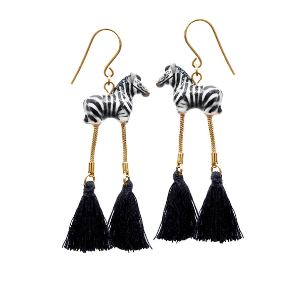 Zebra with Pompom Earrings