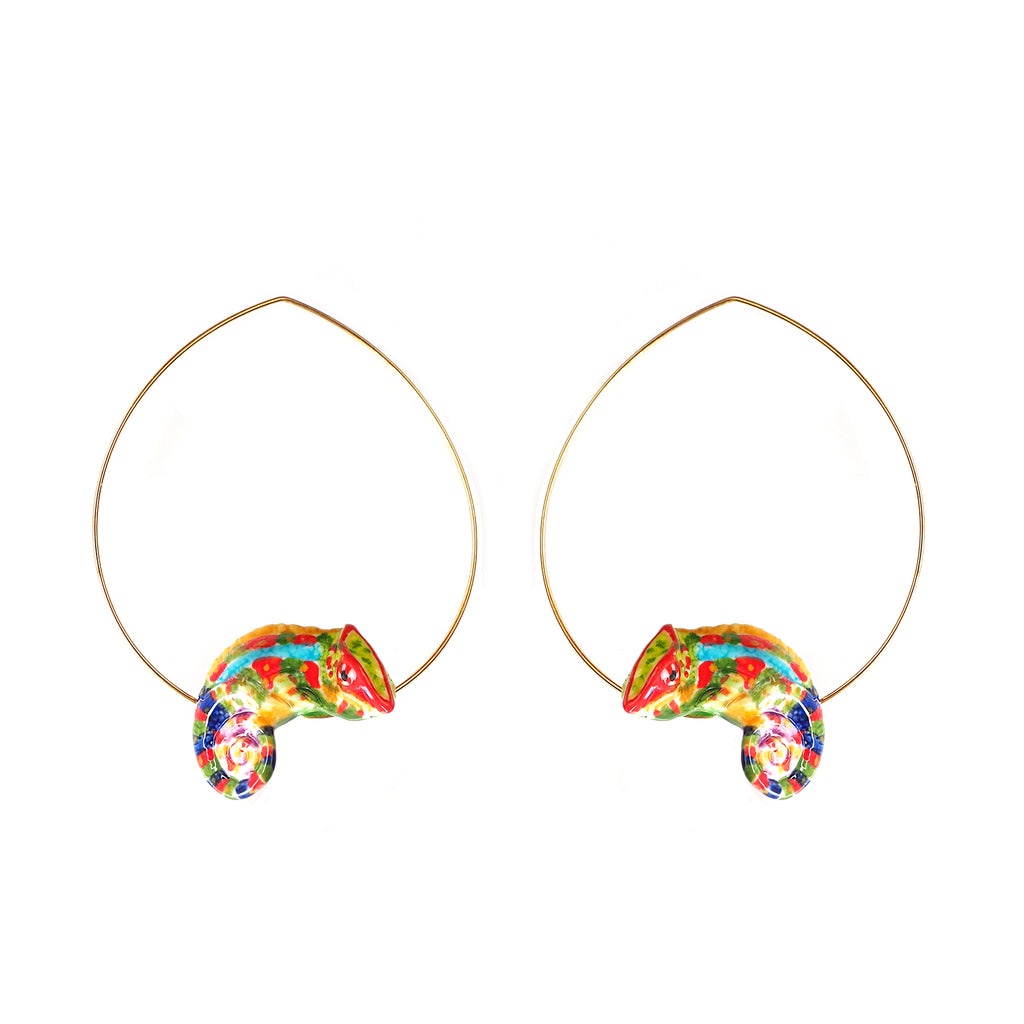 Handmade porcelain Colorful Chameleon Hoops earrings, brass with gold plated