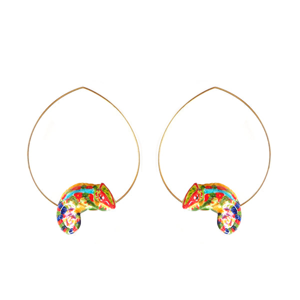 Colorful Chameleon Hoops earrings
