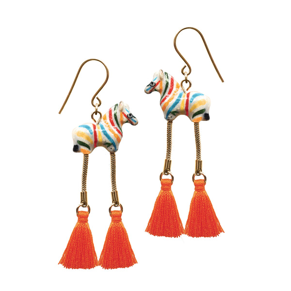 Colorful Zebra with Pompom Earrings