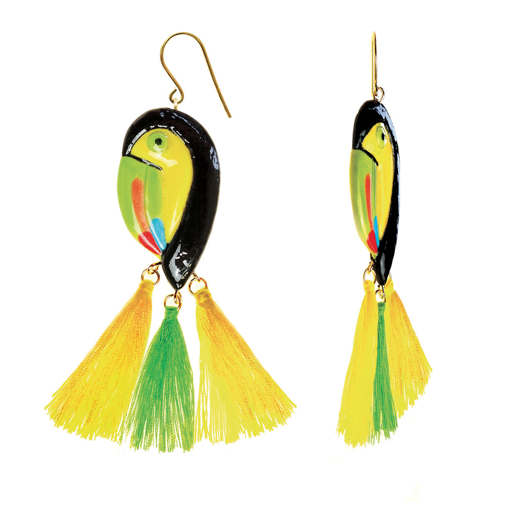 Toucan with three pompoms earrings