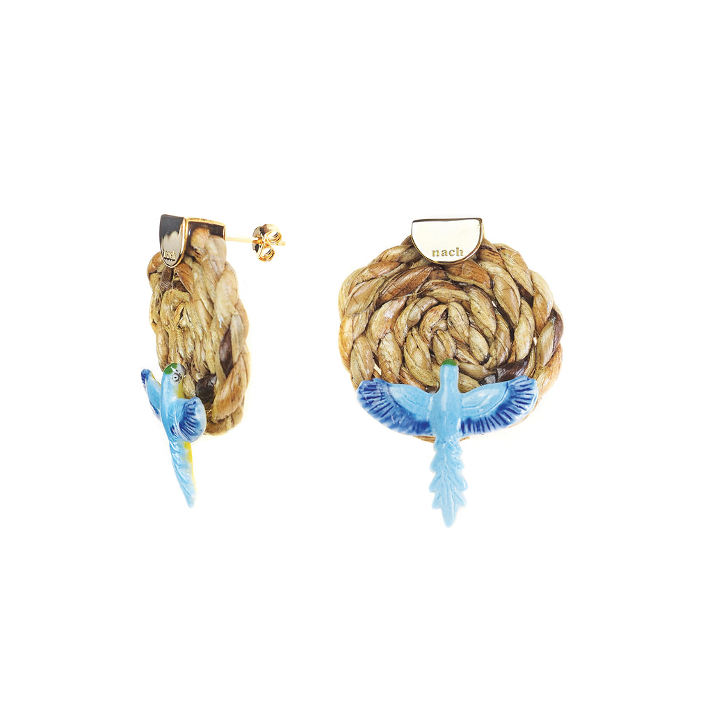 Wicker Blue Parrot earrings