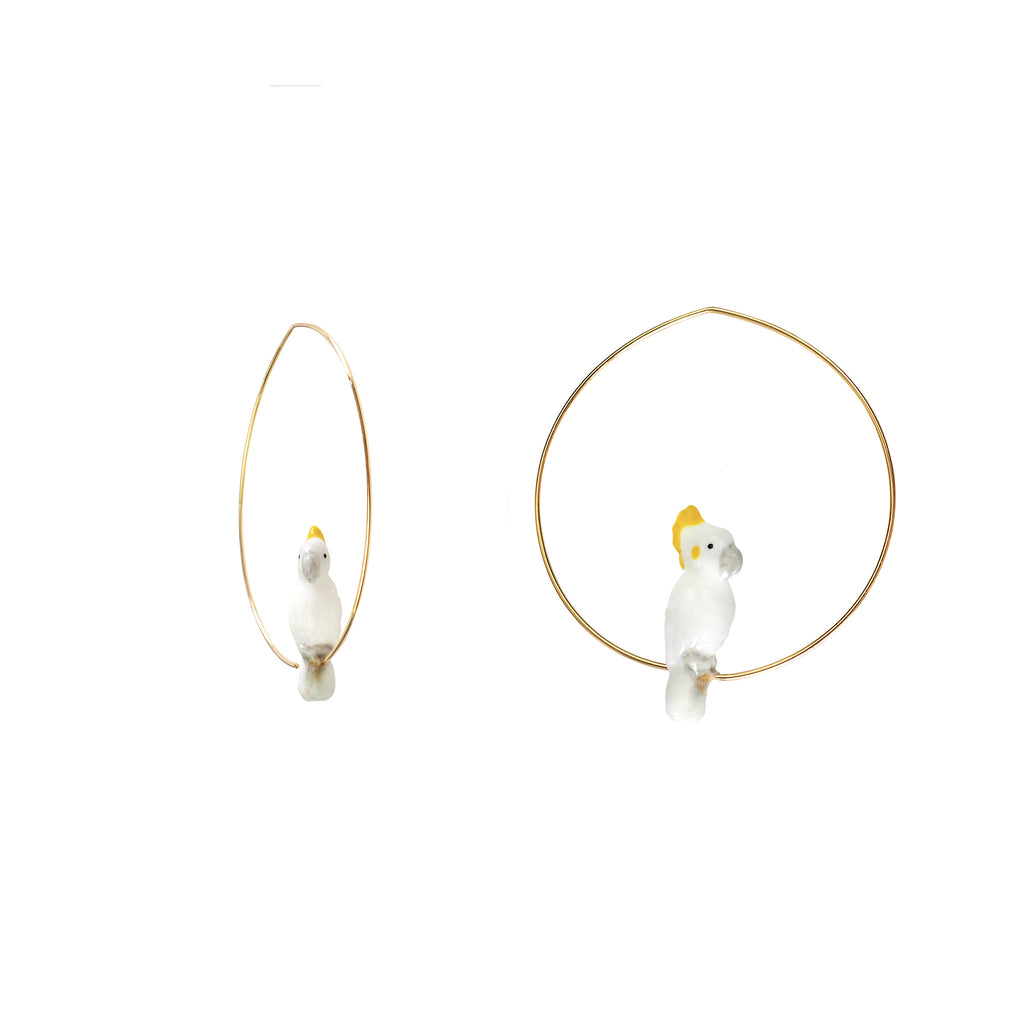 Mini White Cockatoo Hoops earrings