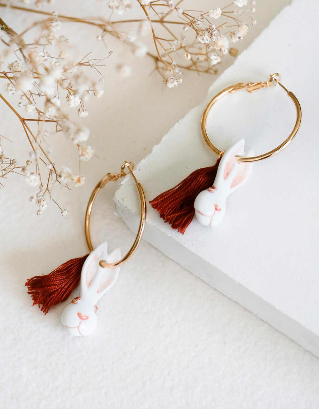 Rabbit and Pompom Hoops earrings