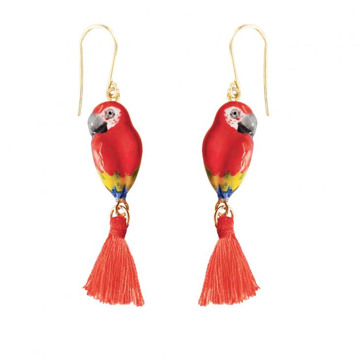 Red Parrot with Pompom earrings
