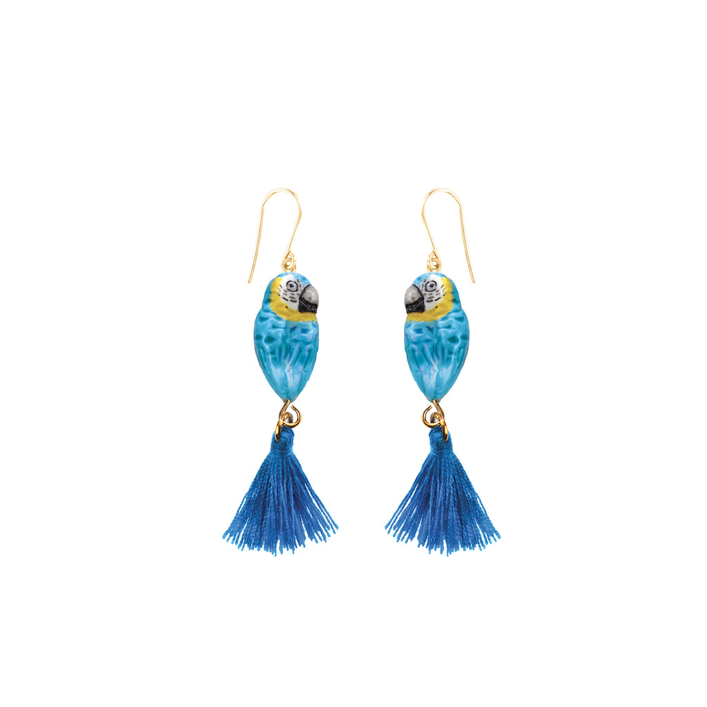 Blue Parrot with Pompom Tail earrings