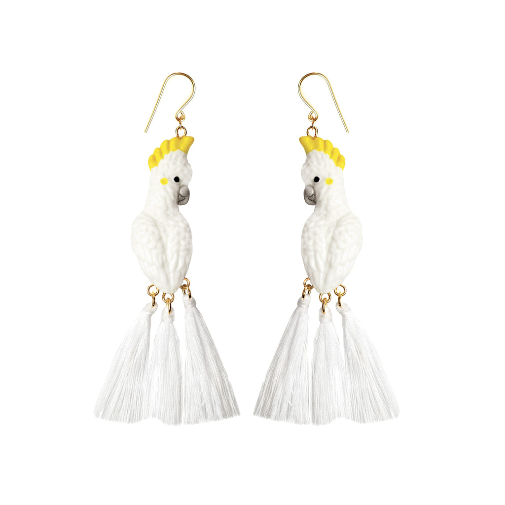 White Cockatoo with Pompon earrings