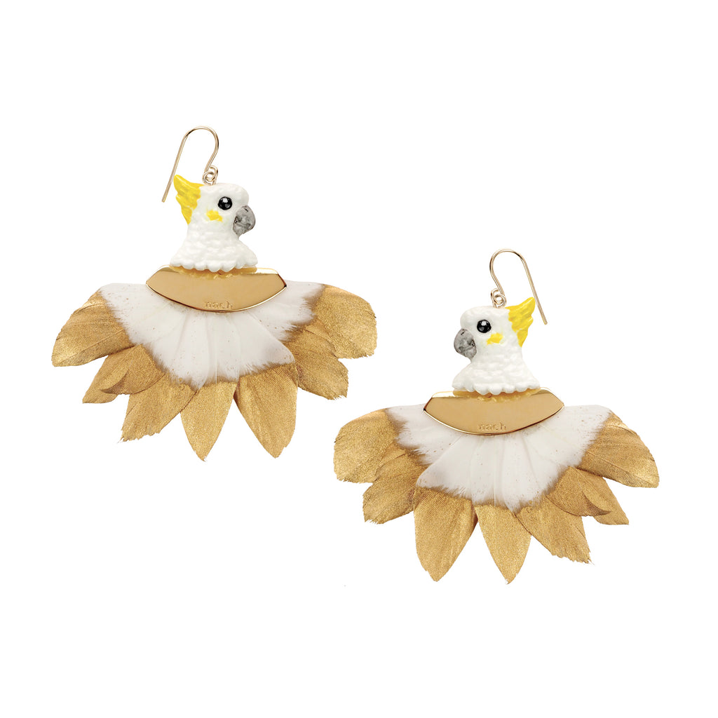 Gold and White Cockatoo Head with feathers earrings