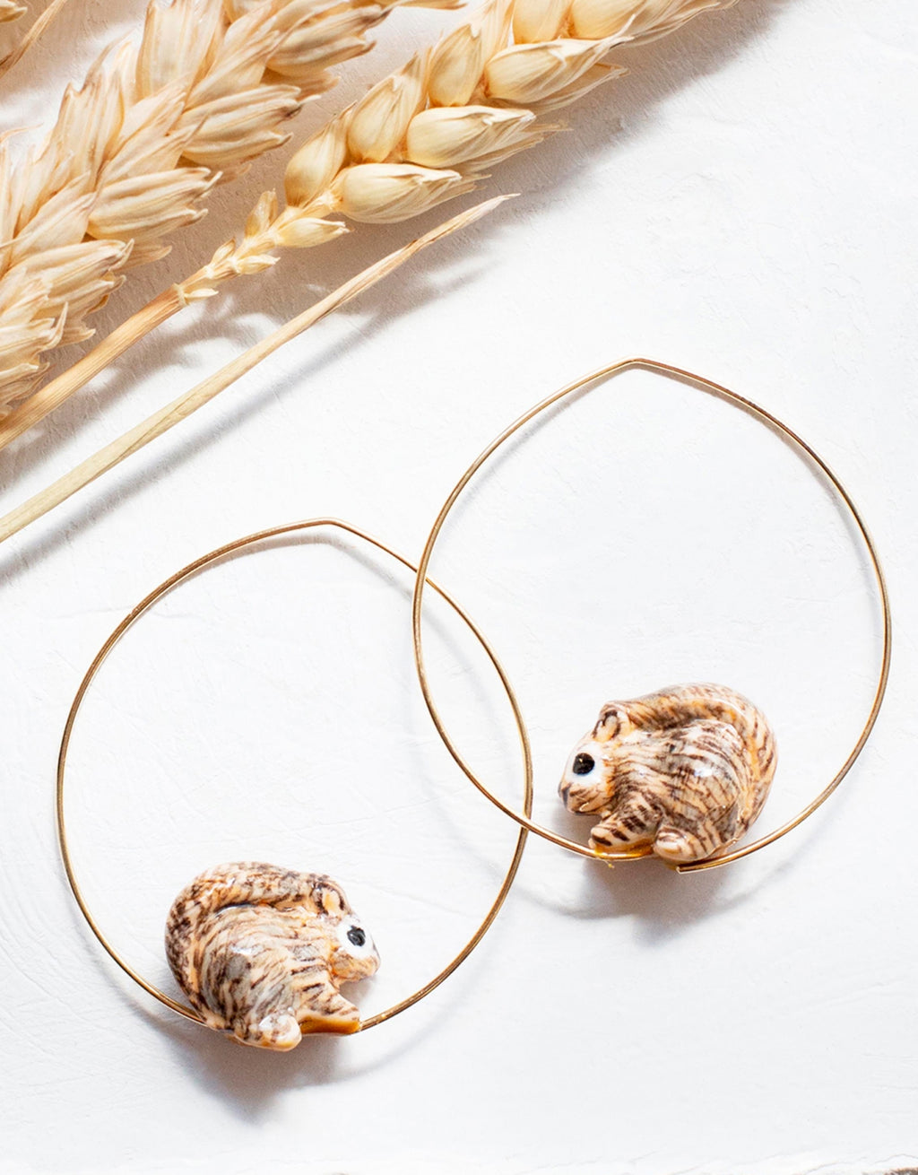 Squirrel Hoops earrings