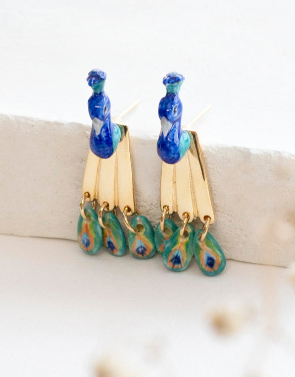 Front and Back Peacock earrings