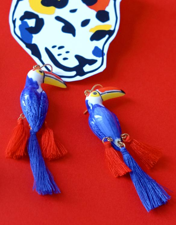 Limited Edition Castelbajac Paris x Nach Blue Toucan with Pompom earrings