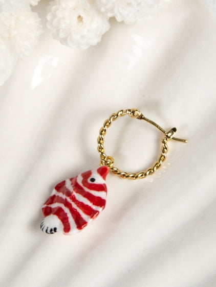 Red and White Fish Mini Hoops Earrings