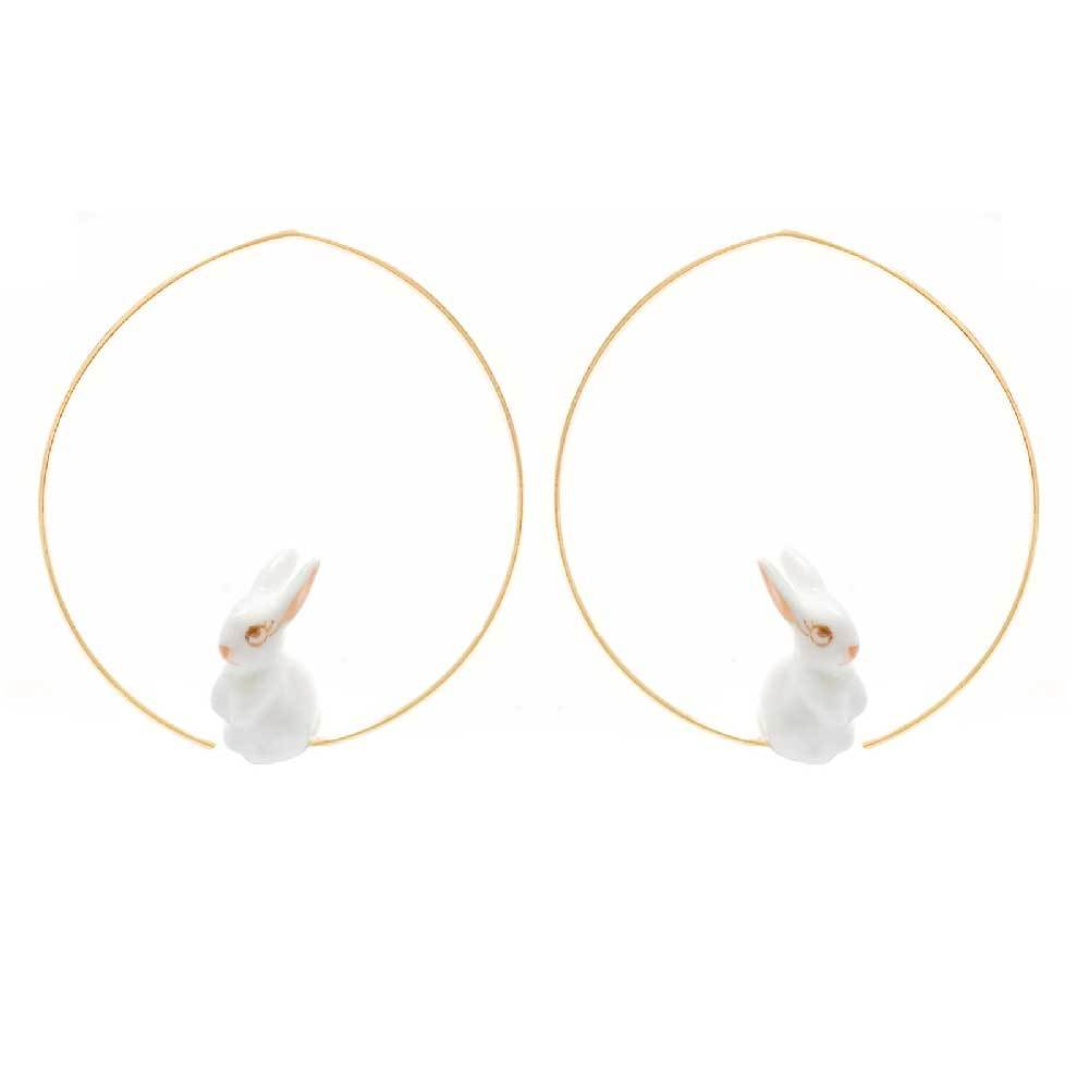 Mini White Rabbit Hoops earrings