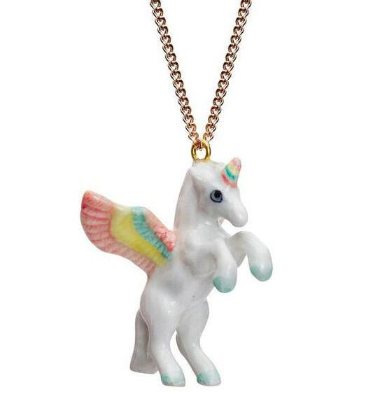 flying unicorn made from porcelain necklace