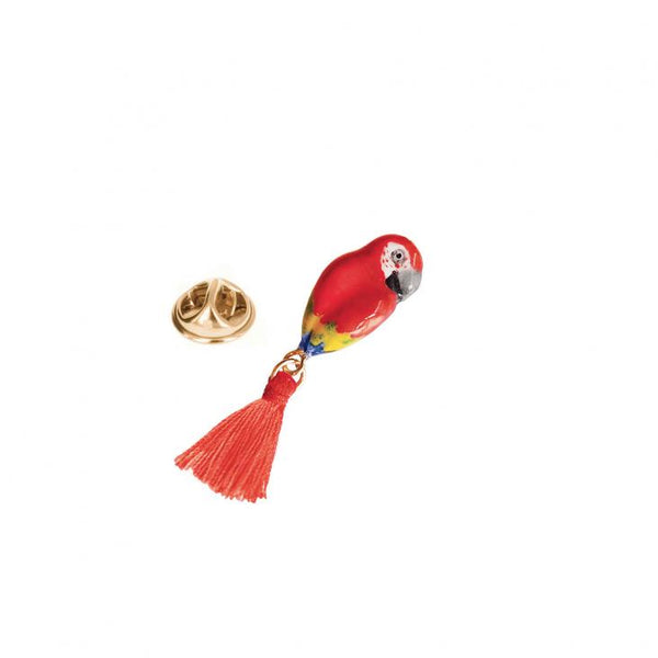 Red Parrot with Pompom pin