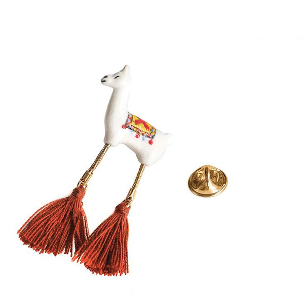 Lama with Pompon Pin