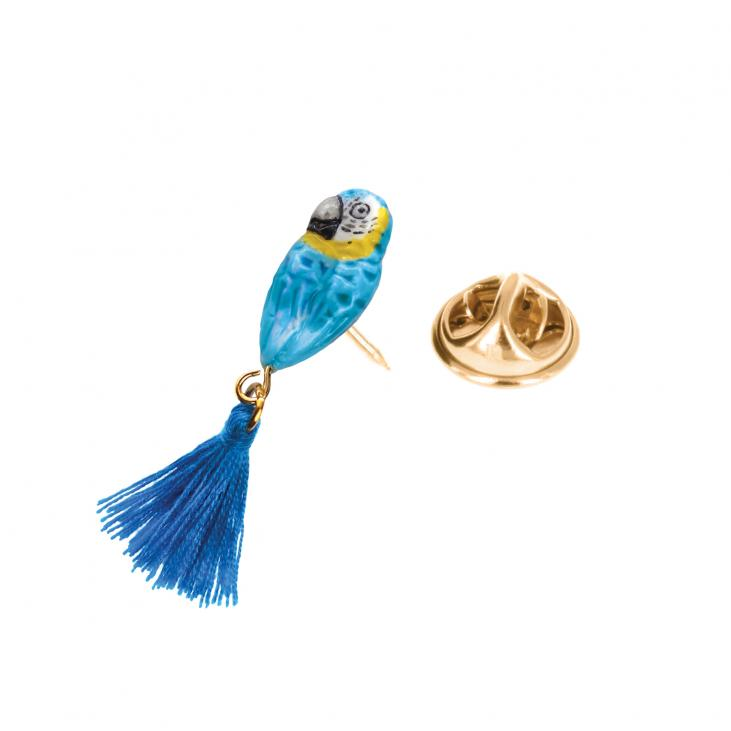 Blue Parrot with Pompom Tail pin