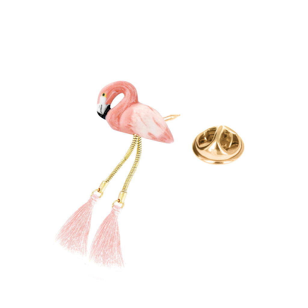 Flamingo with pompon pin