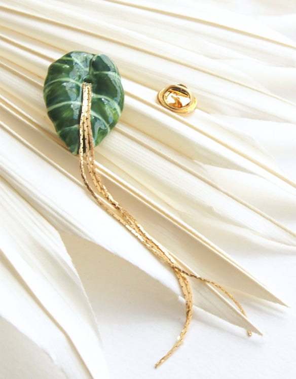 Green Elephant leaf pin
