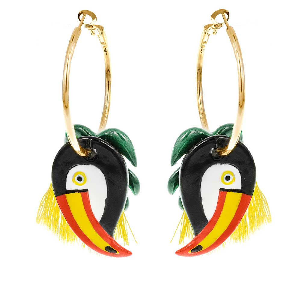 Palm and Toucan earrings