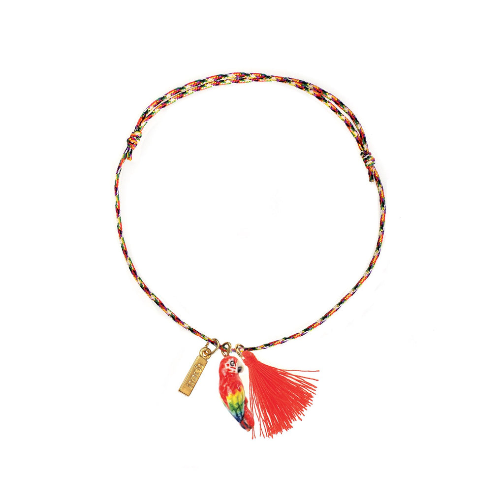 Red Parrot with Pompon Multicolor Charm's bracelet