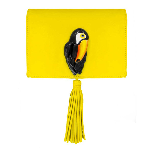 Yellow Clutch Bag with Toucan
