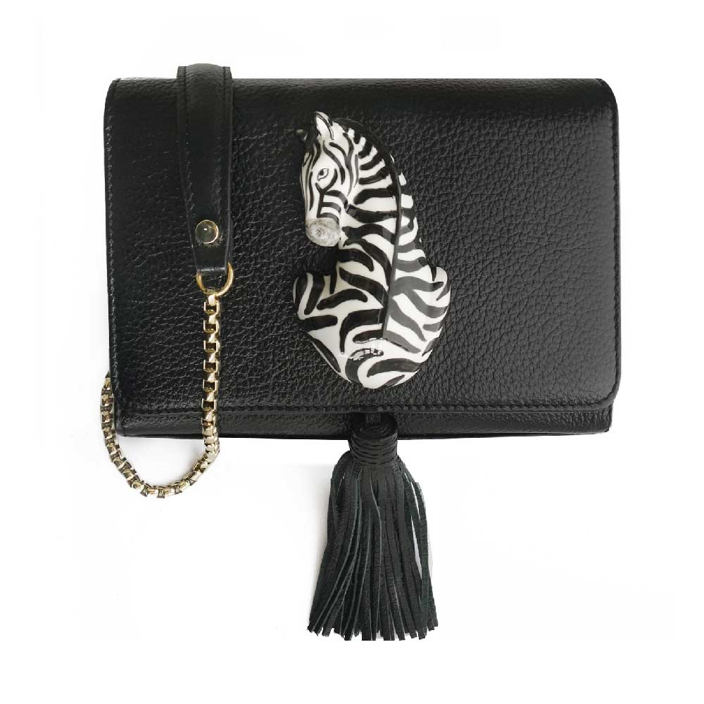 Black Clutch Bag with Zebra