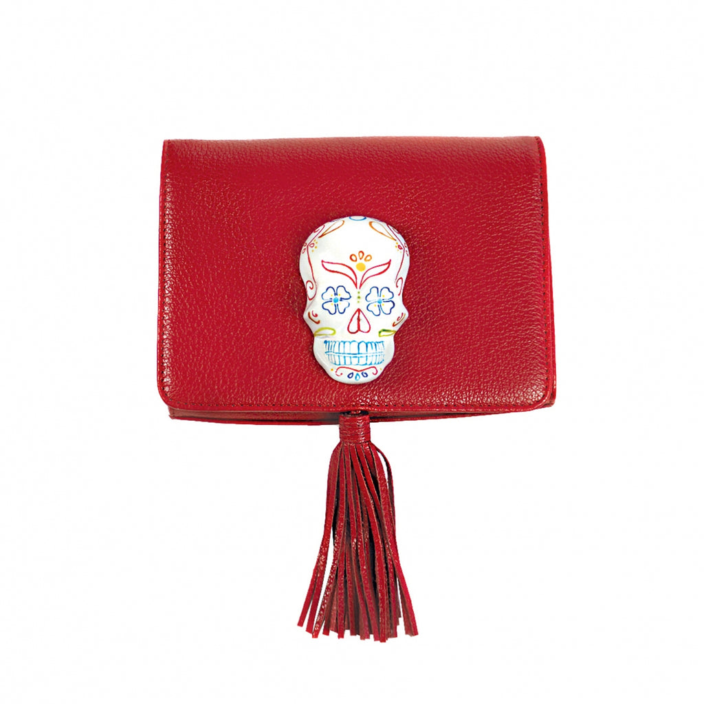 Red Clutch Bag with Dias De Los Muertos