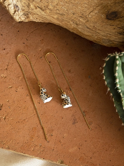 Sitting Leopard Long Earrings