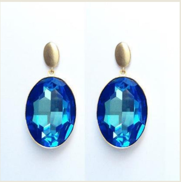 Oval Crystal Earrings