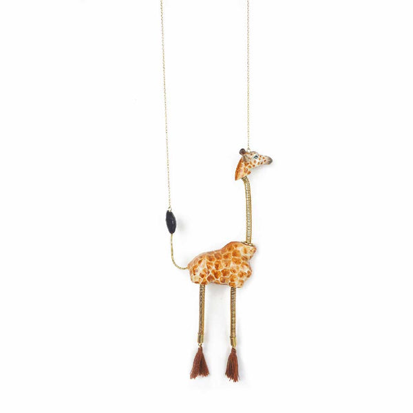 Giraffe with Pompon Necklace