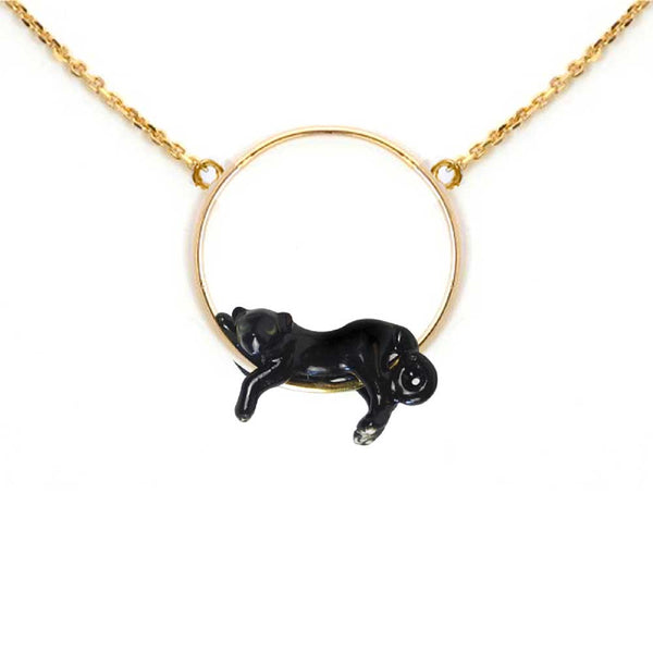 Lying Black Panther Mini Necklace