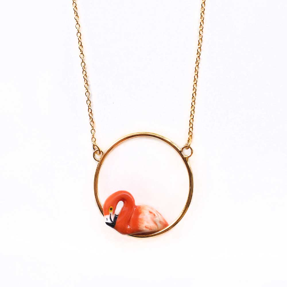 Flamingo Mini Round Necklace