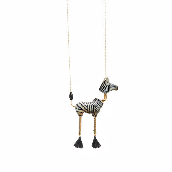 Zebra with Pompom Necklace