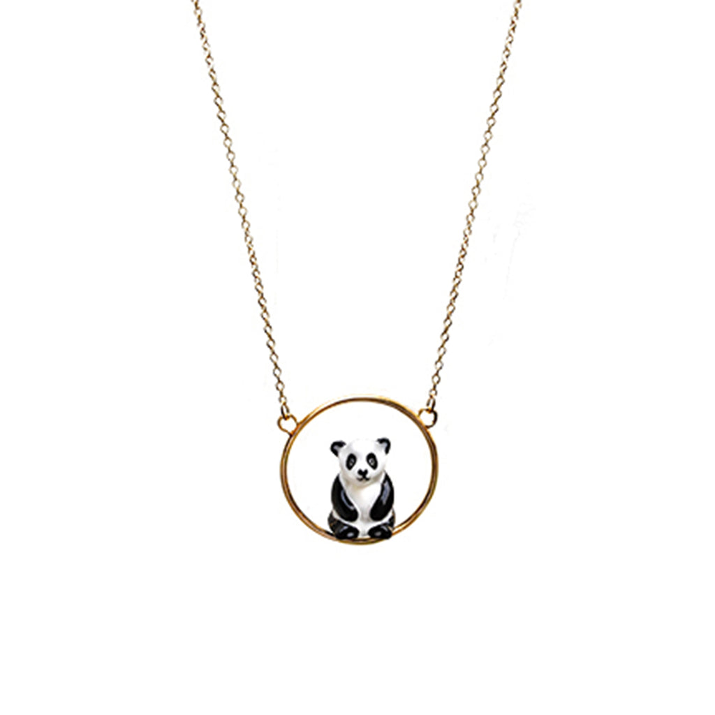 Sitting Panda mini round necklace