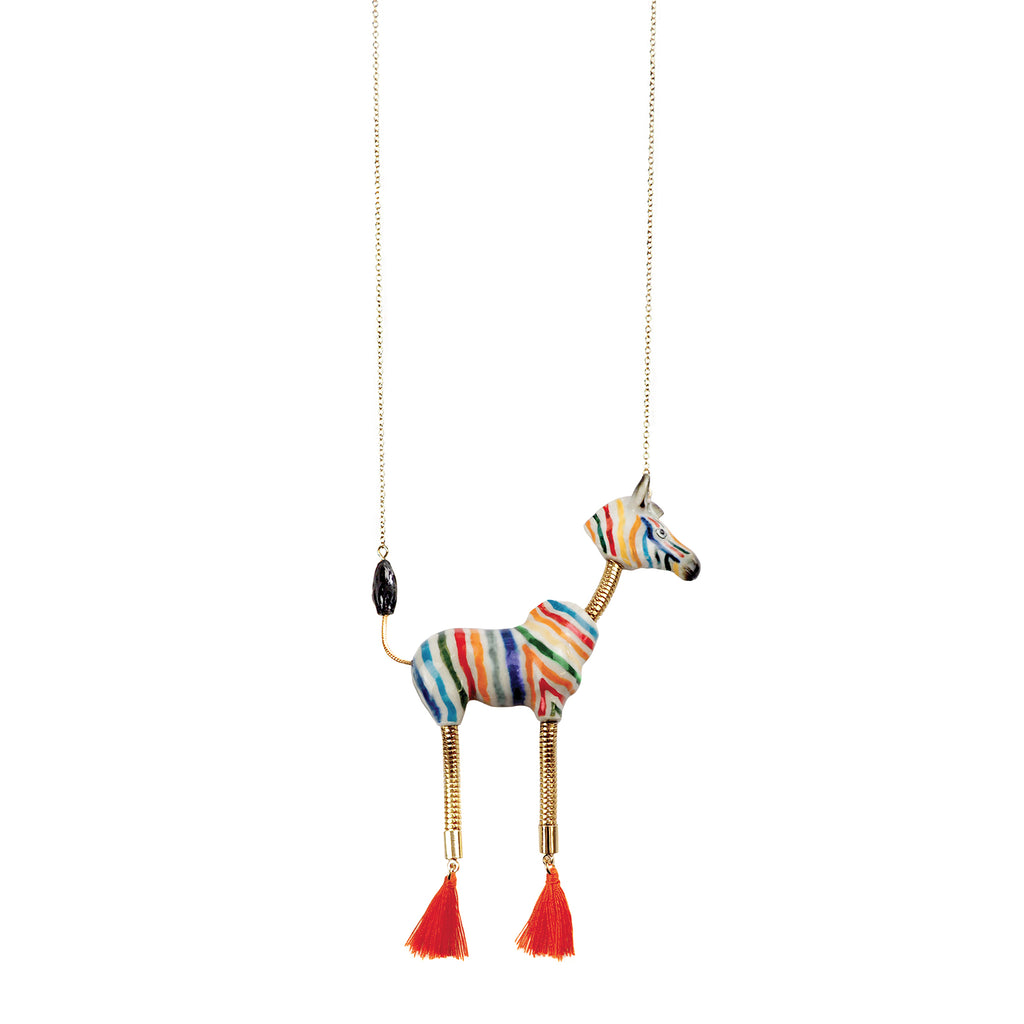 Colorful Zebra with Pompom Necklace