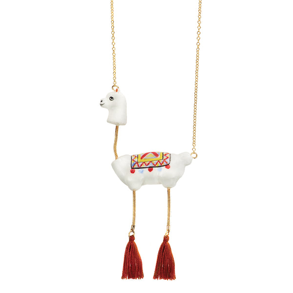 Lama with Pompom Necklace